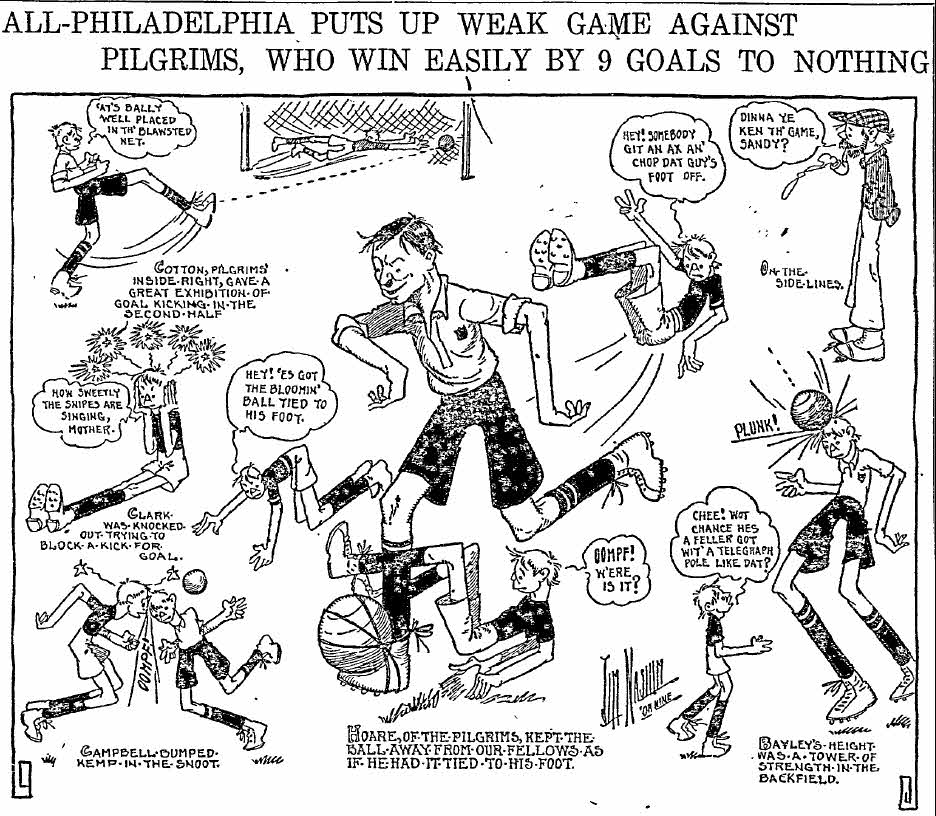 Inquirer cartoon from November 7, 1909 about the All-Philadelphia soccer team's 9-0 loss to the Pilgrims