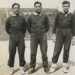 "Aldo ""Buff"" Donelli flanked by Tom Florie (left) and Joe Martinelli (right). Courtesy of the National Soccer Hall of Fame."