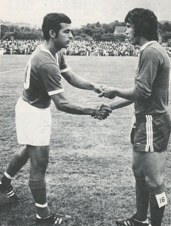 USA captain Barry Barto greets Canada captain Glen Johnson before 1974 World Cup qualifier in August, 1972