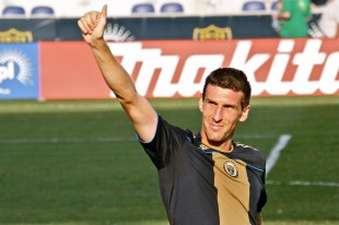 Sebastien Le Toux thanking the fans after the game