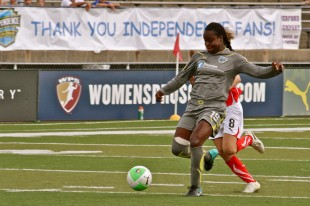 Danesha Adams with a shot in the second half