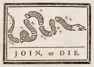 Ben Franklin's classic cartoon is the basis for the Union logo, but it was probably meant for much more.