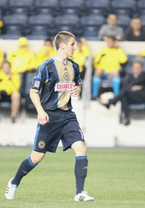 Rosenberry with the Union Reserves against Columbus Crew, April 14, 2012. Photo: Paul Rudderow