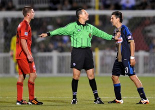 Perry Kitchen and Michael Farfan get heated during a June 2012 U.S. Open Cup match. (Photo: Earl Gardner)