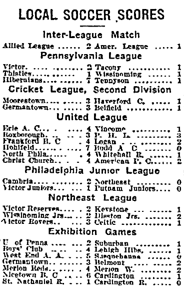 Match results 2-1-1913