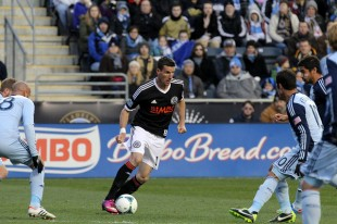 Sebastien Le Toux surrounded by blue