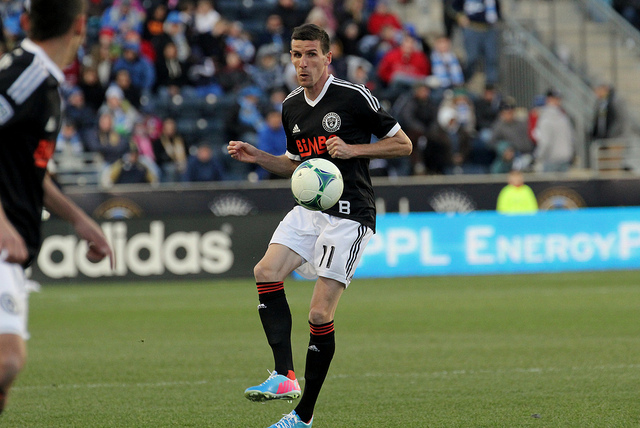Sebastien Le Toux knocks a pass up to the wing
