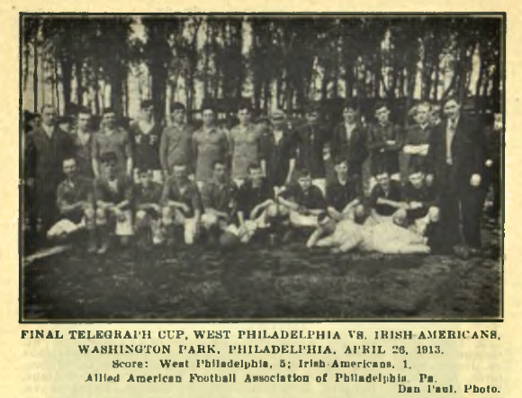 West Philadelphia (lighter shirts) and Wilmington Irish Americans (darker shirts) at Allied Amateur Cup final