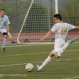 Reading goal scorer Mario Pinto takes a shot on goal.