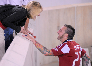Danny Califf and his wife, Erin, at Red Bull Arena in 2012, where Union fans traveled to support him after he was traded. (Photo: Earl Gardner)