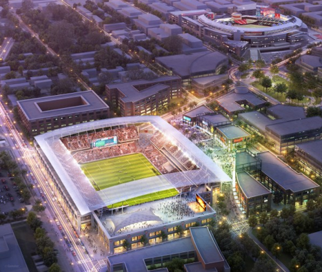 Rendering of proposed new DC United stadium with the Nationals' ballpark in the background.