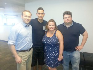 At the KYW studios, L-R: Soccer Show co-host Eli Pearlman-Storch, Union midfielder Leo Fernandes, Sons of Ben travel coordinator Kelly Delaney, and co-host Greg Orlandini.