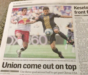 In addition to lameness of The Trenton Times report on Friday's win being a wire report from The AP - why they couldn't send their own reporter is beyond me - the report is illustrated with a photo of the Union playing the Red Bulls - in 2010! Fail.