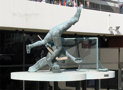 This statue commemorates Gary Dornhoefer's overtime goal in the 1973 quarterfinals, clinching the Flyers' first-ever playoff series win.