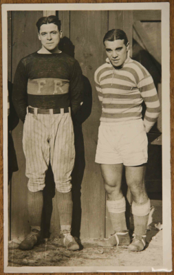 A young Gonsalves in the green-and-white hoops of Fall River, alongside Marksmen goalkeeper Johnny Reder. Reder, incidentally, spent one off-season as a first baseman for the Boston Red Sox (Photo: Soccer Archives)