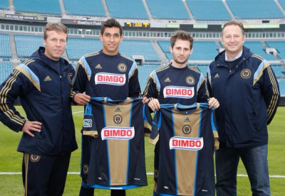 John Hackworth, Cristian Maidana, Vincent Nogueira, and Nick Sakiewicz before Wednesday's game in Jacksonville. Photo courtesy of the Philadelphia Union.