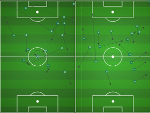 In the first half, Fernandes had time to pick his passes. In the second, the Revs forced him to play faster and more negative.