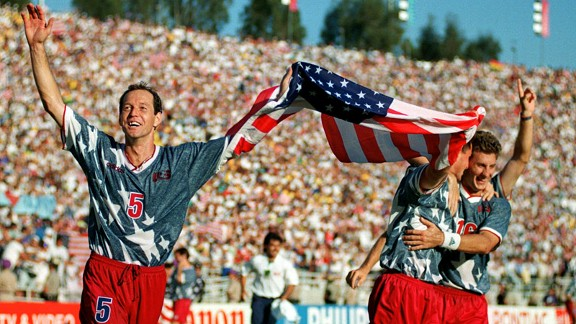 Dooley and Sorber celebrate US win over Colombia 1994 World Cup
