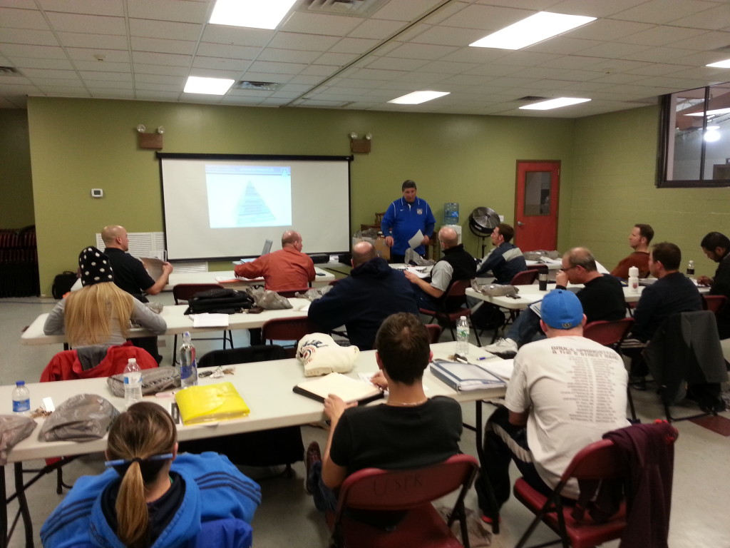 Instructor Don Brady takes us through the E license guidebook inside the Southampton Community Center