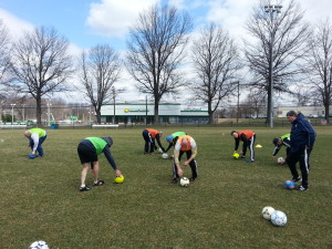 A few of the older guys in the group demonstrated goalkeeper drills