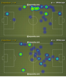 Columbus took out Anor (top) for Meram (bottom) to put more pressure on Vancouver's central midfielders.