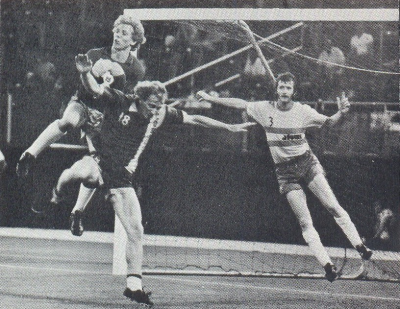 Bob Rigby of the Atoms soves under pressure from the Cosmos' Tibor Vigh while Atom's defender Bobby Smith covers. Courtesy of NASLjerseys.com.