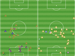 Okugo and Lahoud retreated deep to prevent the Revs' short passing game from developing. Compare to the 5-3 NE win, where Okugo and Nogueira are trying to close down in midfield.