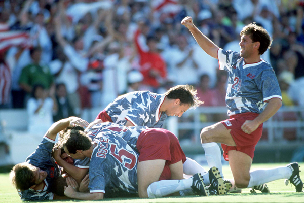 Sorber celebrates after win over Colombia at 1994 WC