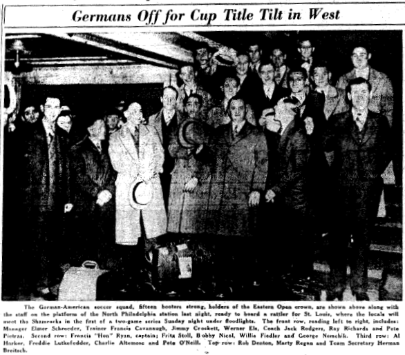 German Americabns depart for St. Louis and the first leg of the 1936 Nional Challenge Cup final. From the April 25, 1936 edition of the Philadelphia Inquirer.
