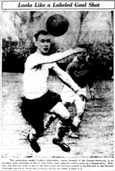 The German Americans' Frank Lutkefedder in action against Baltimore Canton. From the March 16, 1936 edition of the Philadelphia Inquirer.