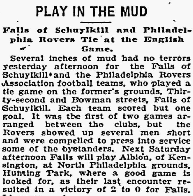 Mud and the English game. Philadelphia Inquirer, January 16, 1898