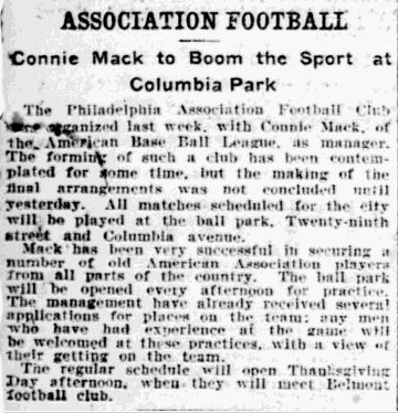 Connie Mack to boom soccer 10-31-1901 Inq p6