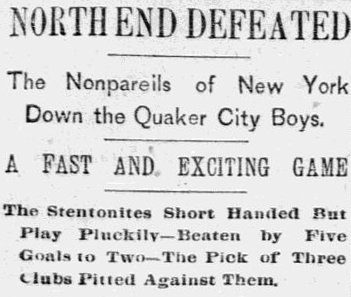 North End defeated in New York 2-23-1891