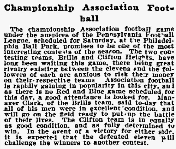 Soccer at Philadelphia Base Ball Park. Philadelphia Inquirer, November 18, 1898