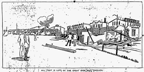 Illustration from the front page of the August 7, 1894 edition of the Philadelphia Inquirer showing the aftermath of the Philadelphia Base Ball Park fire.