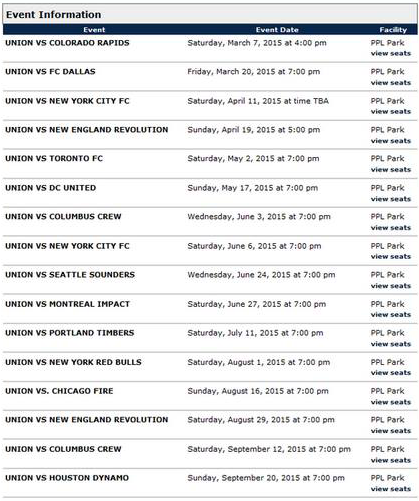 Leaked 2015 Union home schedule