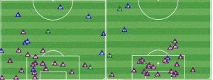 Colorado tackles (green), interceptions (blue) and clearances (purple) in 2nd half (L) vs Houston in the 2nd half at PPL Park Sept. 20, 2014.