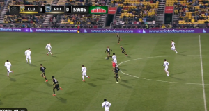 Kamara had time to bring the ball down, turn, and play Higuain behind the midfield. Now the defense is in trouble and the midfield is out of the play.