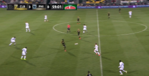 Kamara has acres of space between the deep defense and a midfield caught high.