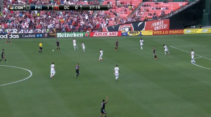 The Union kept a tight defensive shape in the first half, cutting off passes to Rolfe in between the lines.