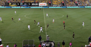 With Meram central, Columbus overloaded the midfield and released Higuain to run at the defense (this play led to Omar Gonzalez' caution).