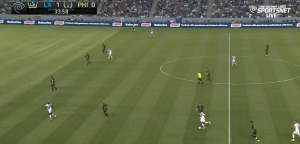 Gaddis is caught up and completely unaware of Zardes' run in behind. No talking?