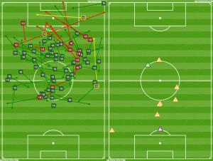 Pappa attacking (L) v Carroll defending (R)