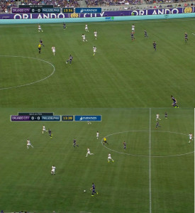 Brian Carroll steps to the ball to force Neal wide then shadows Kaka throughout Orlando's transition. Also notice Barnetta closing the ball down in the bottom frame.