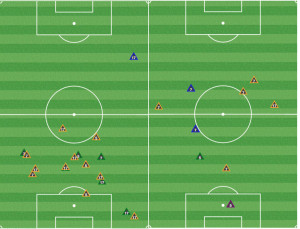 The OCSC midfield contained Toronto in the 1st half (L) but disappeared for the first 10 minutes of the second half and chased instead of retaining shape.