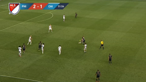 One issue with the Union's offense is that neither center midfielder was involved in the offensive half, making it difficult to hold possession.