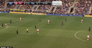 Philly pressing but keeping a deep line after NYRB cycled the ball back out.
