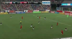 Toronto catches the left side of the Revs defense in aggression mode, and easily breaks the back line.