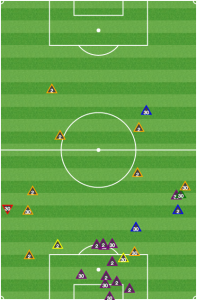 In the first half, Razvan Cocis (30) and Matt Polster (2) simply sat deep and helped clear lines. They did nothing to disrupt the Union midfield.