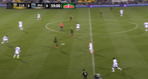 Le Toux stays high instead of dropping into a line with the midfield.